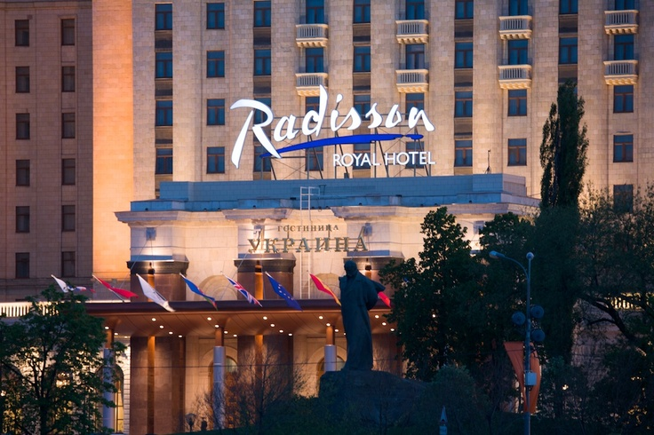 Entrance to Radisson Royal Hotel Moscow and the view of monument to Taras Shevchenko