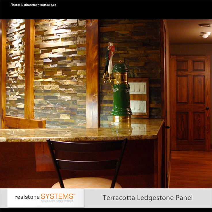 Very Cool Rustic Bar With Granite Counter And Stack Stone Wall With Exposed  Wood Beams