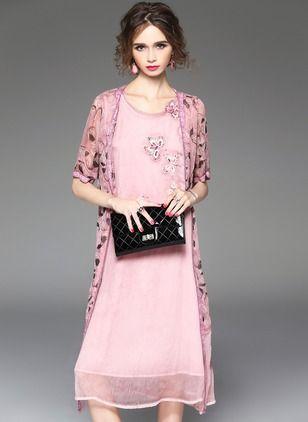 Poliester Kwiatowy Krótki Rękaw Do Połowy Łydki Nieformalny Suknia