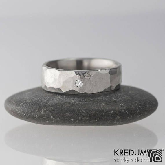 Diamond HAMMERED Wedding Band, Womens ENGAGEMENT ring, Custom handmade Stainless steel ring for her, him, female - Draill + 1.5 mm diamond  This hand forged ring is made of anti-allergic stainless steel. Hits of hammer are left visible on the surface and smoothly polished. We can make the ring with shiny, matte or dark finish.  Diamond is certified. Cut crystal natural diamond 1.5 mm, color G-H, clarity VS - VS1, brilliant, unmodified