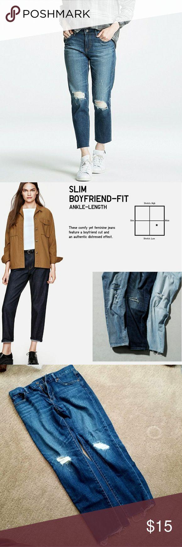 Uniqlo Slim Boyfriend Tapered jeans Size: 24 Slim Boyfriend Tapered jeans with distressing. Midrise waist Super cute and comfy! Uniqlo Jeans Boyfriend