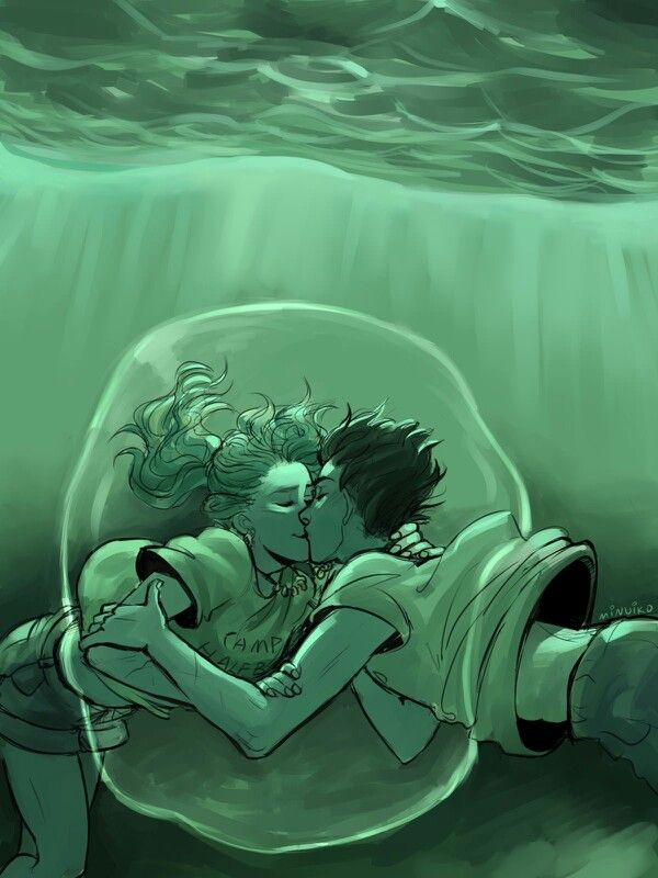 Percabeth / Percy Jackson / Annabeth Chase / Percy Jackson and the Olympians / art by Minuiko for Valentines Day, 2014 - Underwater Kiss