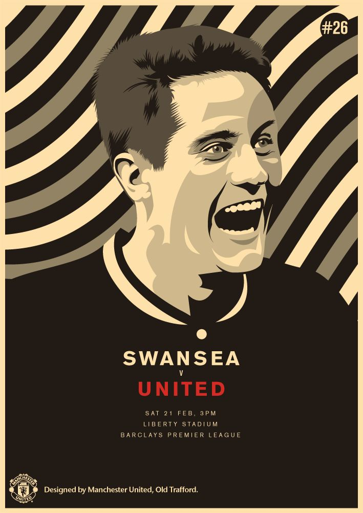 Match poster. Swansea City vs Manchester United, 21 February 2015. Designed by @Manchester United.