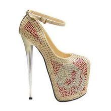 Maat 34 ~ 43 sexy 19 cm hoge hakken schoenen vrouwen pompen schedel strass die dames chaussure femme talon zapatos mujer tacones(China (Mainland))