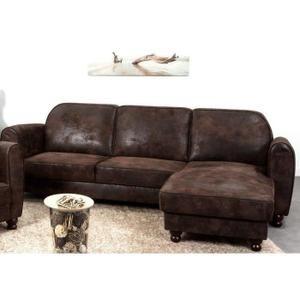 FINLANDEK Canapé d'angle réversible IKÄINEN 4 places - Tissu marron effet vieilli - Vintage - L 242 x P 154 cm