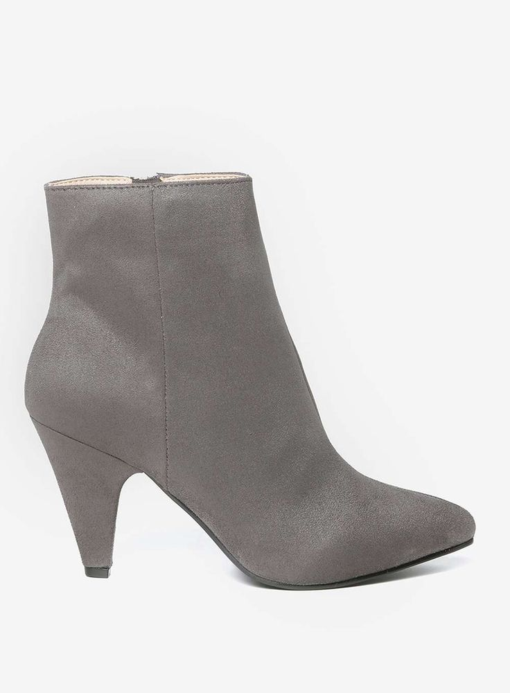 Womens Wide Fit Grey 'Ada' Ankle Boots- Grey