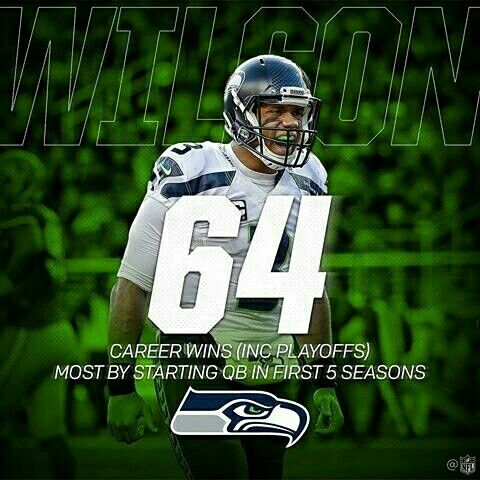 Russell Wilson broke a record yesterday he won his 64th career game (Including the playoffs) its the most by a starting quarterback in first 5 seasons. #RussellWilson #NFL #Seahawks, January 7, 2017