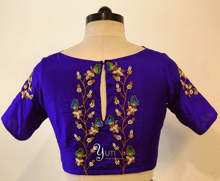 Just when the caterpillar thought the world was over it became a butterfly! A happy butterfly zardosi embroidered royal blue blouse by YUTI. For Orders and Queries reach us at 044-42179088 / whatsapp: 9789903599