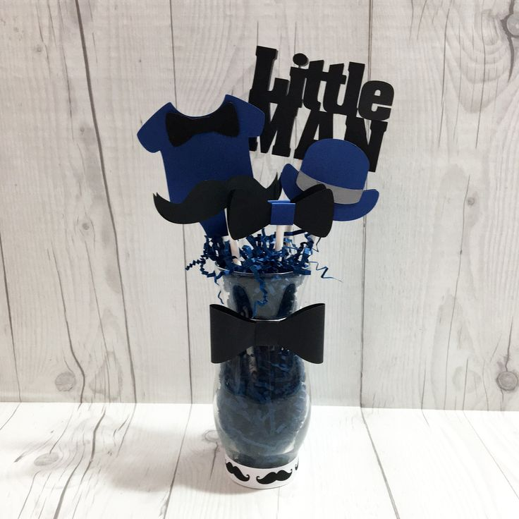 Navy and Black Little Man Centerpiece Vase