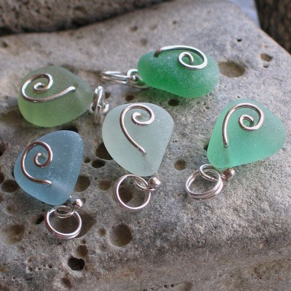 5 Natural Sea Glass Sterling Silver Charms Petite Pendants Jewelry or Supplies (570)