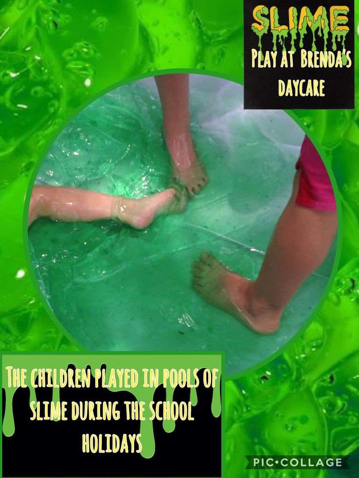 playing in a paddling pool with slime, great summer fun.