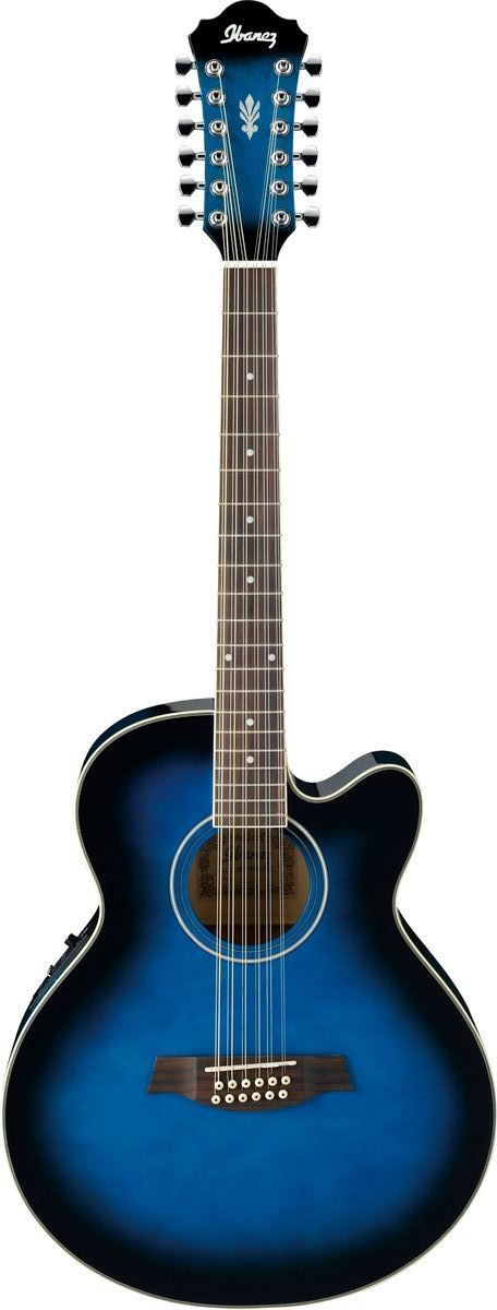 Ibanez AEL1512E-TBS 12 String Acoustic-Electric Guitar | Transparent Blue Sunburst Finish