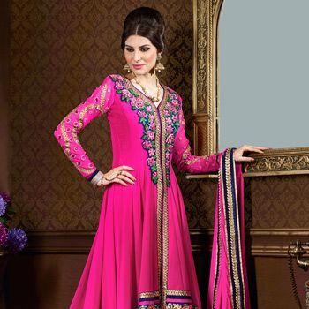 Fuschia Pink Faux #Georgette Assymetrical #Anarkali Churidar Kameez