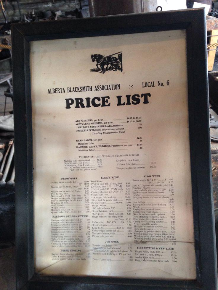 Local Blacksmith pricing list
