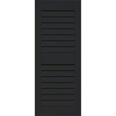 home fashion plantation 14 in x 47 in solid wood louvered shutters pair behr jet the home depot - Shutters Home Depot
