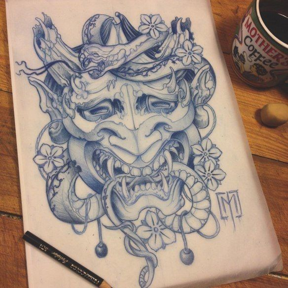 Sketch For A Japanese Sleeve: 100 Best Images About Hannya Mask On Pinterest