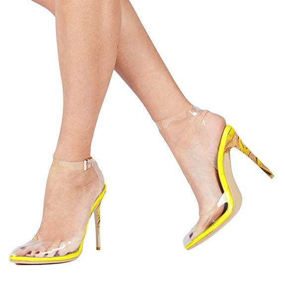 8f36bf204a74 Cdvintu Women Pointed Toe Transparent High Heels Lucite Clear Dress Sandals  Ankle Strappy Bukle Stilettos (5