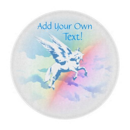 http://www.zazzle.com/pegasus_flying_over_clouds_and_rainbow-256665729515983320?rf=238523064604734277 Pegasus Flying Over Clouds And Rainbow - This round cutting board features a blue Pegasus flying over a rainbow over clouds.