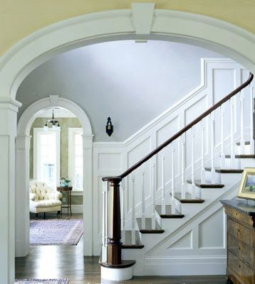 molding! + stairs! Ok, those classic two-toned stairs could be gorgeous in your house. And keeping molding in mind for the future (doesn't have to be this ornate).