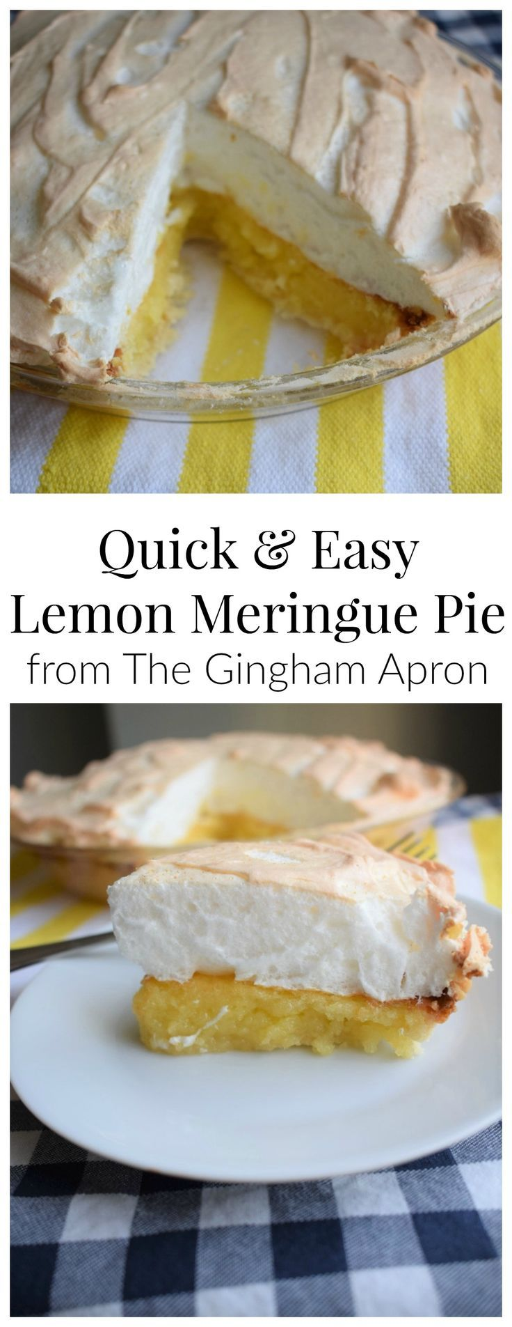 Quick and Easy Lemon Meringue Pie- this recipe starts with a lemon bar mix, and it's the easiest pie ever!