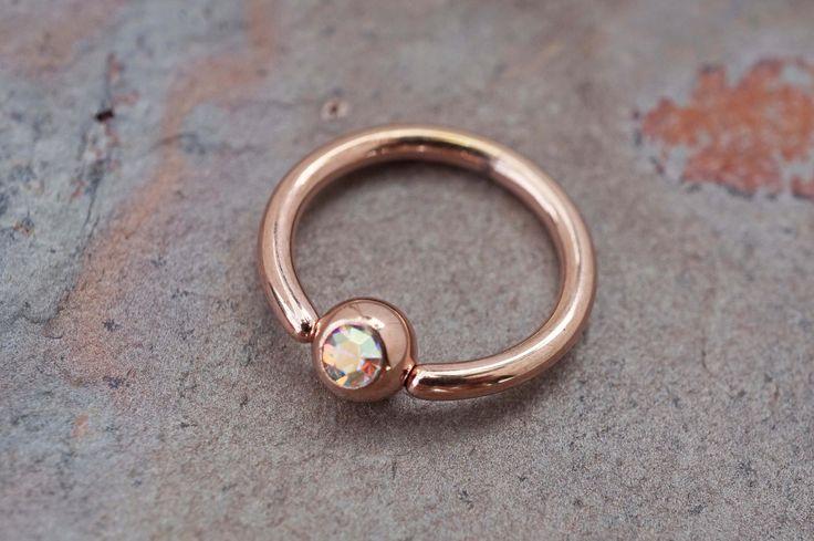 14kt Rose Gold Hoop AB Crystal Daith Hoop Rook Cartilage Hoop