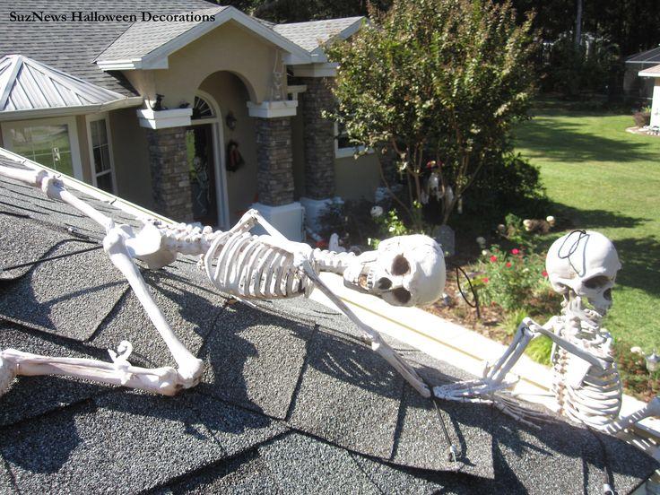Skeletons on my roof!  #halloweendecorations #posableskeletons…