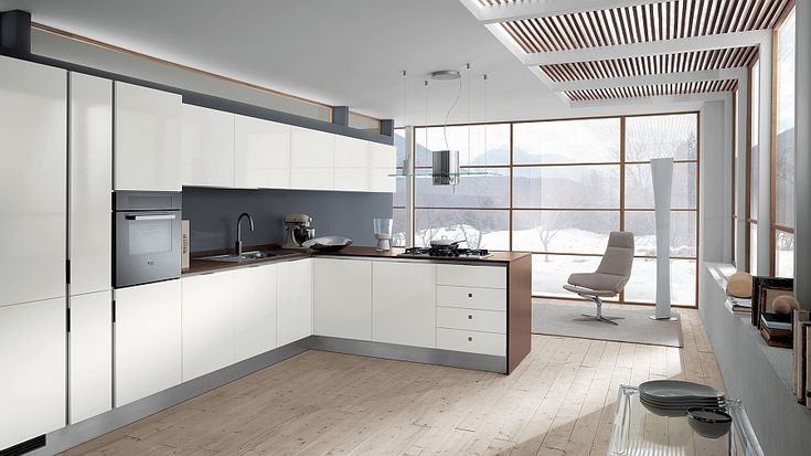 Beautiful all-white kitchen composition is ideal for the small home