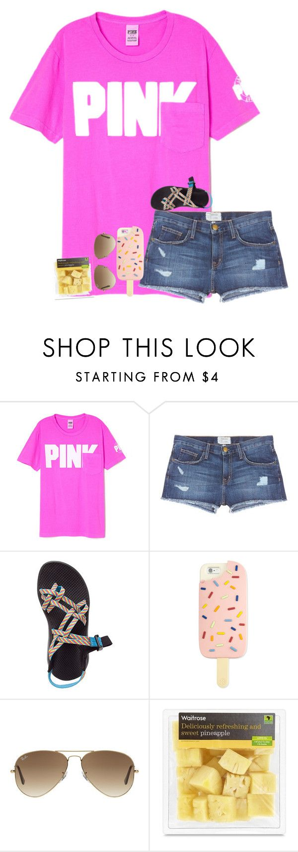 """""""I am so bored!!!"""" by kyliegrace3 ❤ liked on Polyvore featuring beauty, Current/Elliott, Chaco, Tory Burch and Ray-Ban"""