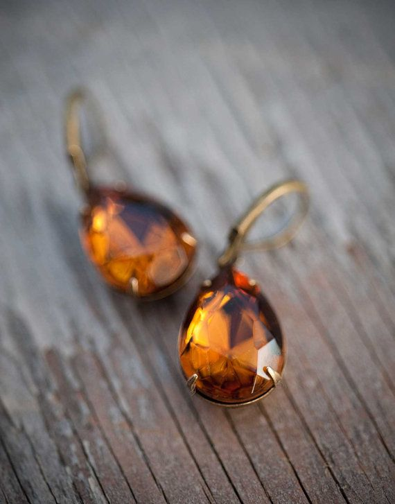 Estate Style Vintage Earrings Spring Wedding Jewelry  Bridesmaids Gift fall color -  Amber Chocolate