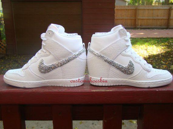 Custom Bling Rhinestone White Croc Nike Dunk Sky Hi Wedge Sneaker