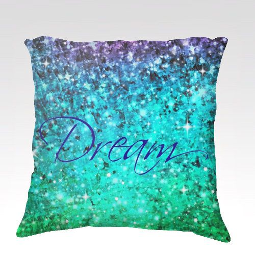 DREAM Fine Art Velveteen Throw Pillow Cover 18x18 Typography Ombre Abstract Art Painting Midnight Royal Blue Teal Purple Modern Home Decor
