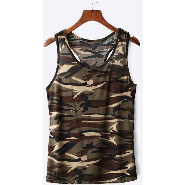 Yoins Green Camouflage Tank Top (34 BRL) ❤ liked on Polyvore featuring tops, camo, green top, brown tank top, camouflage tank tops, camoflauge tank top and camo tank tops