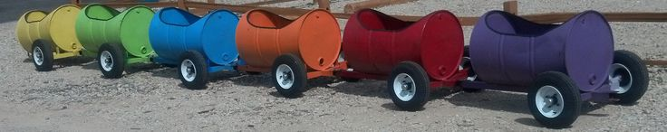 BARREL TRAIN  55 GAL. STEEL TIGHT HEADS BARRELS SERVE A MILLION PURPOSES! CHILDREN DELIGHT IN A RIDE IN THEIR OWN PERSONAL BARREL, ON THE BARREL TRAIN. OUR 55 GAL. STEEL DRUM IS THE START OF YOUR BARREL TRAIN! PRICES START AT $59.00/EACH