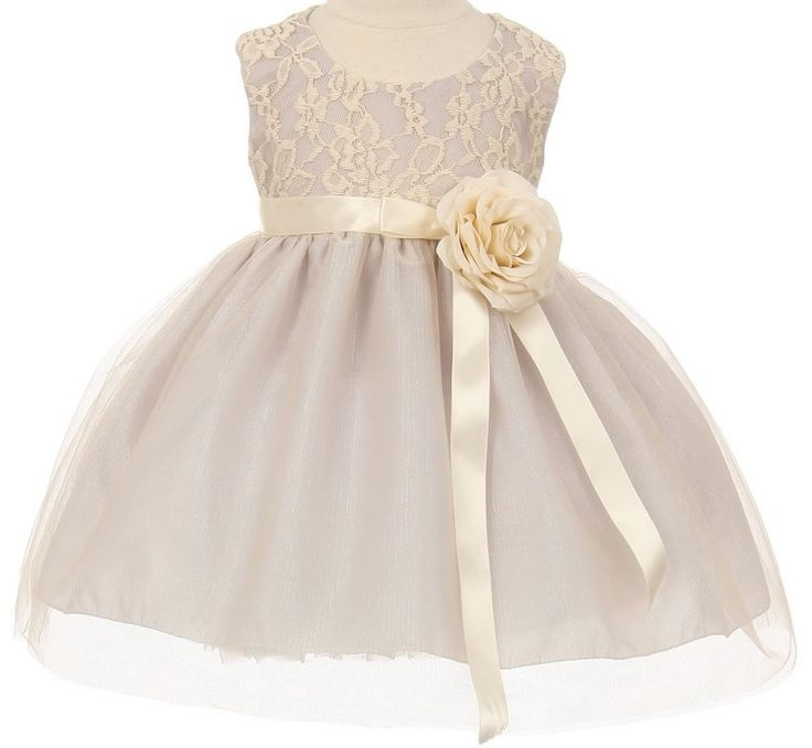 Mabel - Baby Lace Flower Girl Dress: SilverStyle 1147 - Baby Flower Girl Dress in Silver This is the matching baby toddler flower girl dress for style 1147. Baby dresses are fully lined and come in sizes from new born to 18 months. This style is lace and tulle.