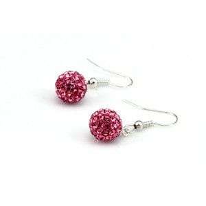 Red Crystal Ball Drop Earrings