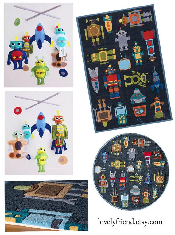 Baby Mobile  baby robot mobile  robot baby boy by lovelyfriend, $78.00