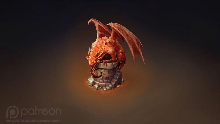 Isometric Dragon Tower, Sephiroth Art on ArtStation at https://www.artstation.com/artwork/8vqlx