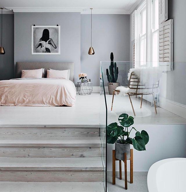 Grey Bedroom Walls, Wardrobe Behind Bed And Small