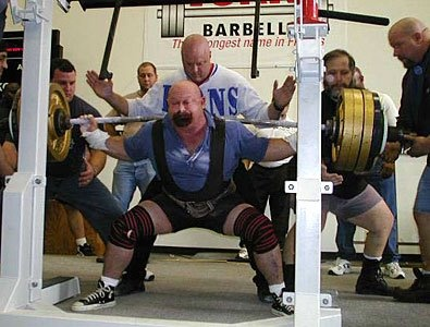 Louie Simmons, Westside Barbell, squatting.