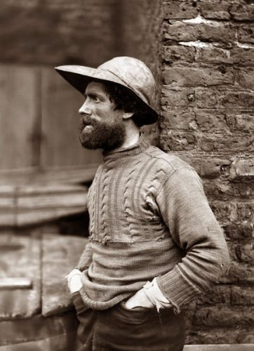 fishermen, Frank sutcliffe beard hat jumper bricks sepia profile