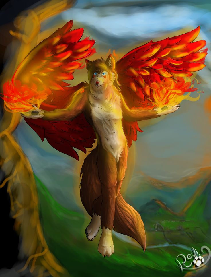 Revi Wolfe with his guardian wings.  Drawn roughly because I didn't felt like making a clean colored drawing xD