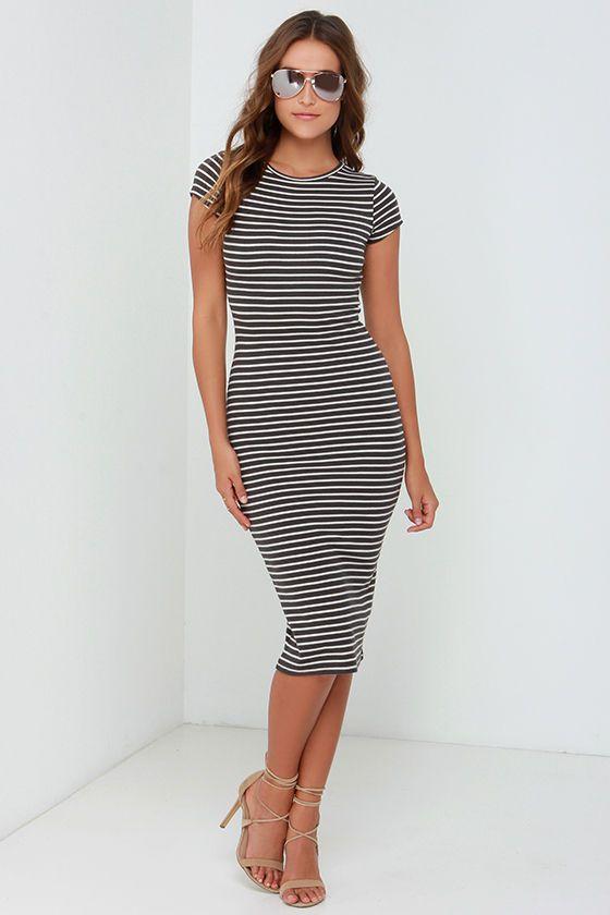 Billabong Twist of Fate Grey Striped Midi Dress at Lulus.com!