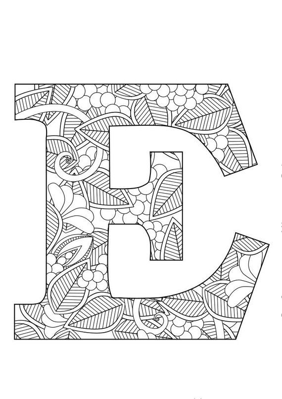 Letter E Floral With Images Lettering Coloring Pages