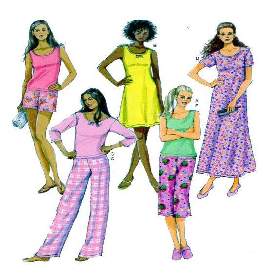 Butterick 5432 Women Sleepwear Nightwear Long Nightgown