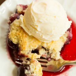 A sweet cherry filling topped with light drop biscuits. Just add ice cream!