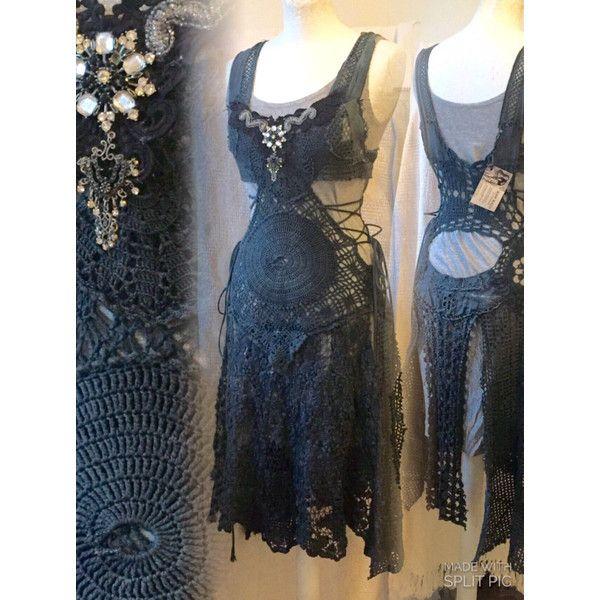 Boho Crochet Dress Fairy Elven Dress Burning Man Festival Sexy Crochet... ($295) ❤ liked on Polyvore featuring dresses, grey, women's clothing, bohemian crochet dress, sexy grey dress, boho crochet dress, bohemian style dresses and grey slip dress