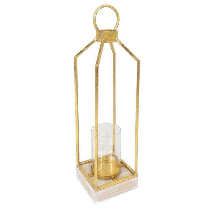 ΜΕΤΑL LANTERN IN GOLD COLOR 16Χ16Χ61 - Lanterns - DECORATIONS - inart