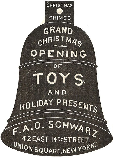 1888 Christmas Advertisement Bell Ornament - Free Printable from KnickofTime.net
