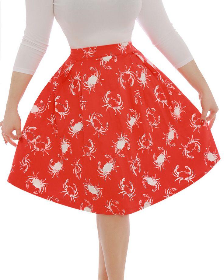 'Marie' Red Crab Print Swing Skirt