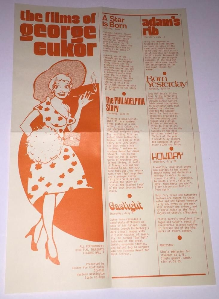 The Films Of George Cukor Schedule Poster Western Washington State College 1973